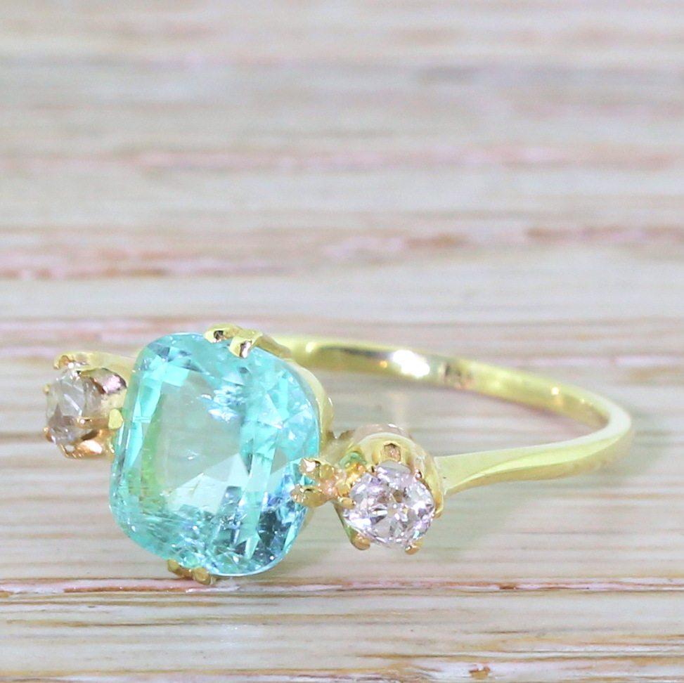 Victorian 290 Carat Paraiba Tourmaline & Old Cut Diamond Trilogy Ring, 18k  Gold  Gatsby Jewellery