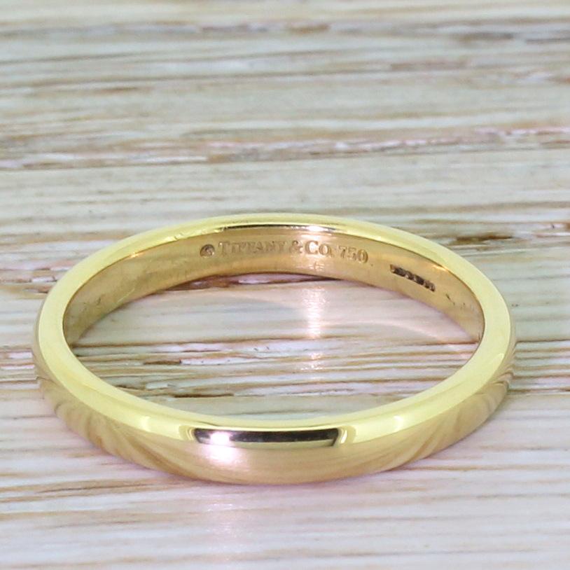 Tiffany Co Platinum 18k Gold 3mm Milgrain Wedding Band: TIFFANY & CO. 3mm Lucida Wedding Band, 18k Gold