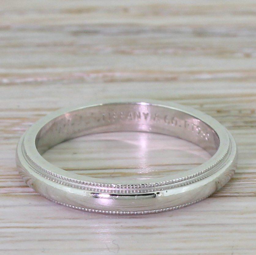 Tiffany Co Platinum 18k Gold 3mm Milgrain Wedding Band: TIFFANY & CO. Milgrain Wedding Band Ring, Platinum
