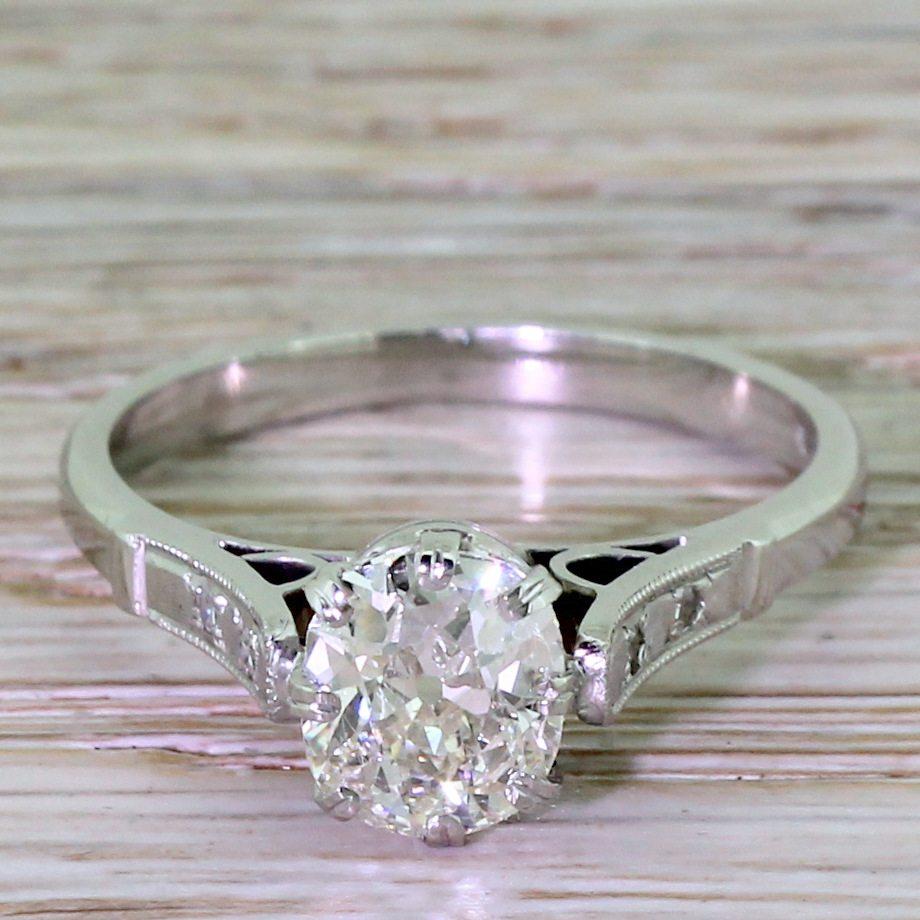 Engagement Rings Netherlands: Art Deco 1.45 Carat Old Cut Diamond Engagement Ring, Dutch