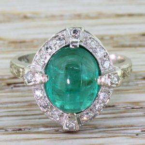 green gem engagement ring