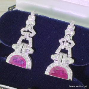 Art Deco Half Moon Ruby Drop Earrings